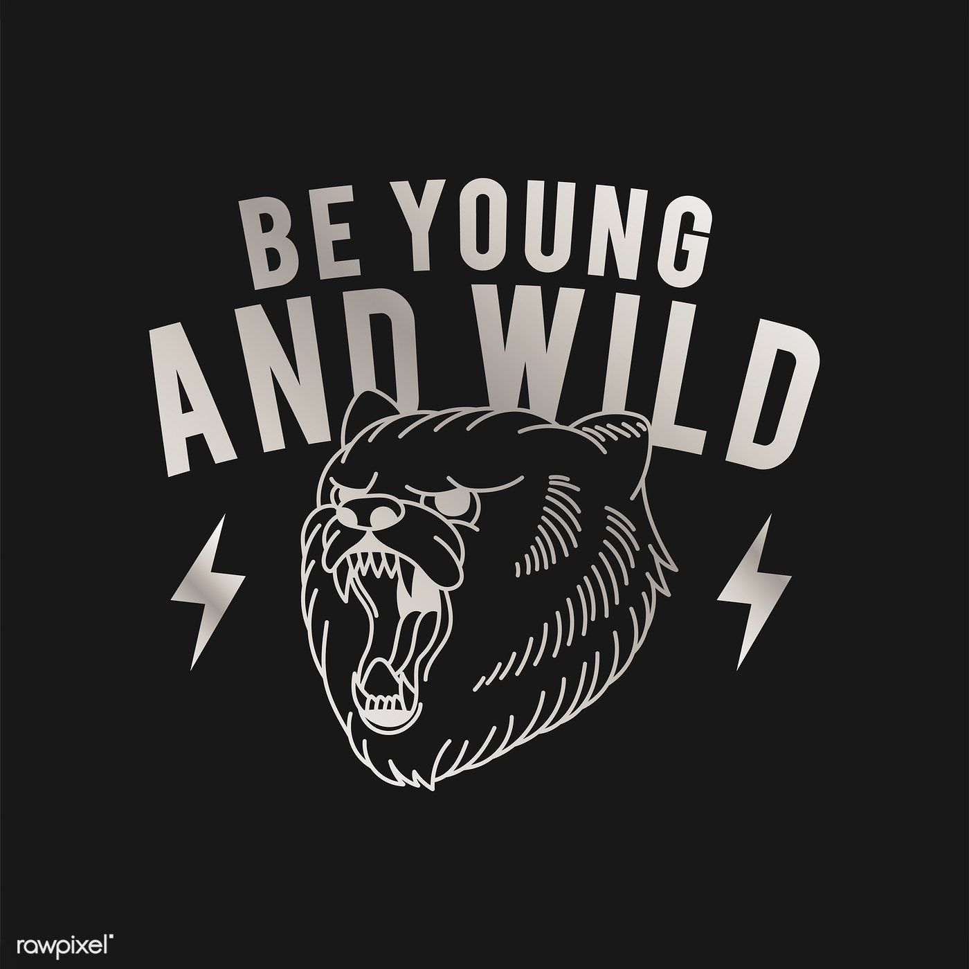 Be young and wild logo vector free image by