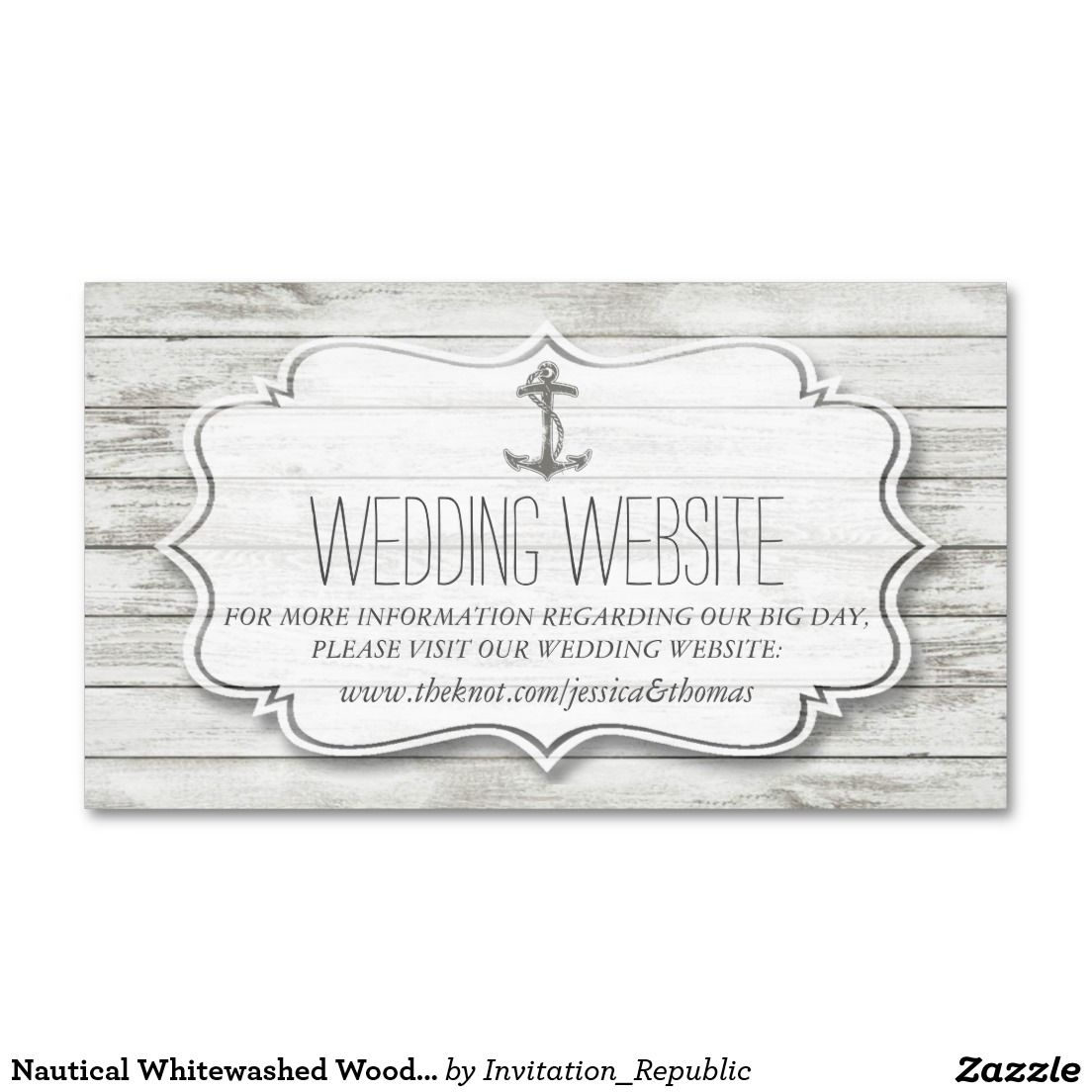 Nautical Whitewashed Wood Beach Wedding Collection Double-Sided ...