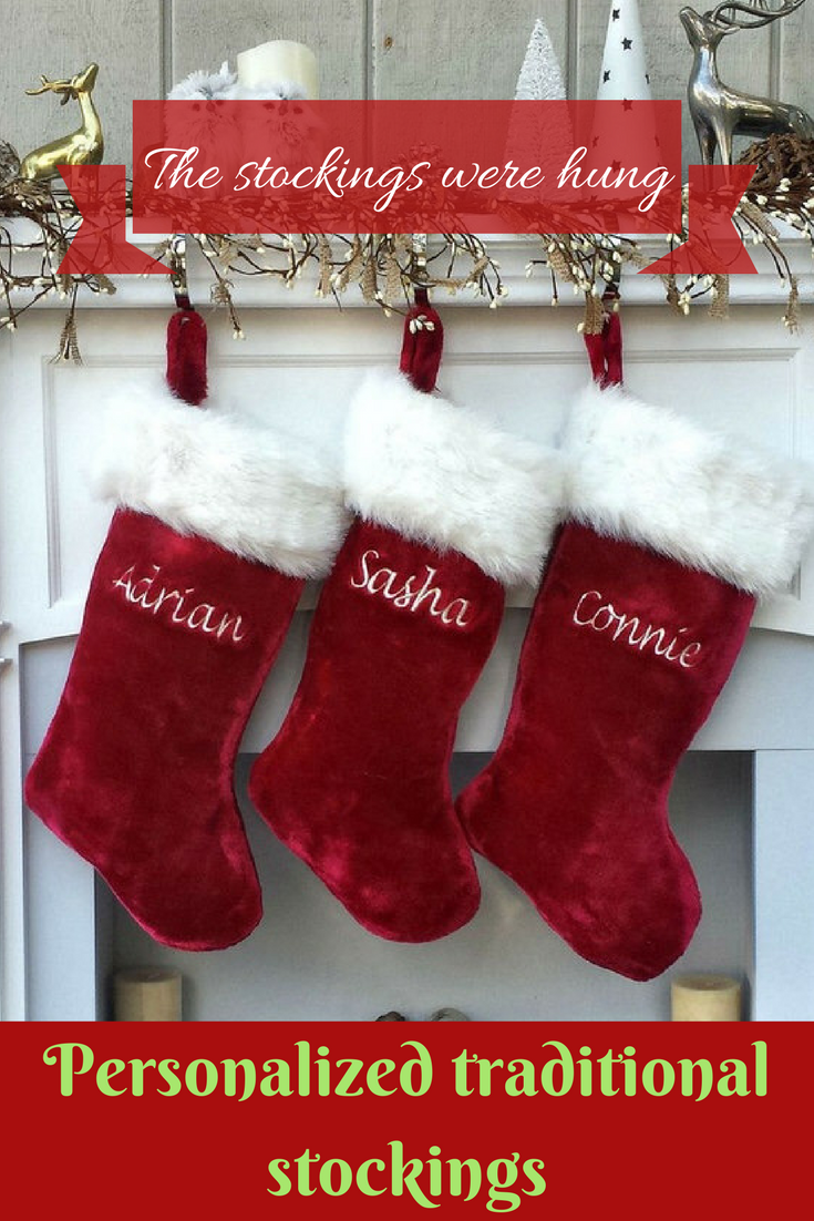 96c891632 Red and white traditional Christmas stocking with personalized name.  ad