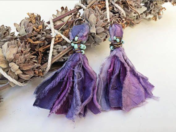 earrings, tassel earrings, handmade sari, purple tassel earrings, LIGHTWEIGHT, rose gold, light earrings, sari tassel UNIQUE earrings, OOAK