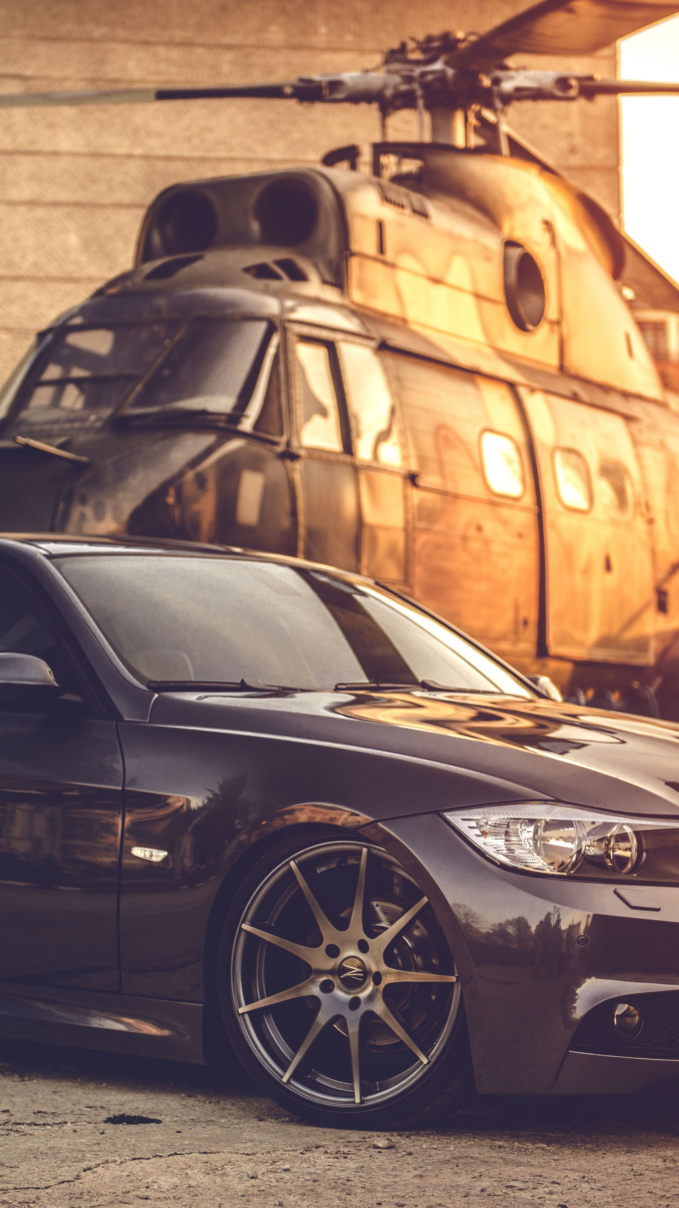 Cars Bmw E Deep Concave Black Helicopter Android Wallpapers K Hd