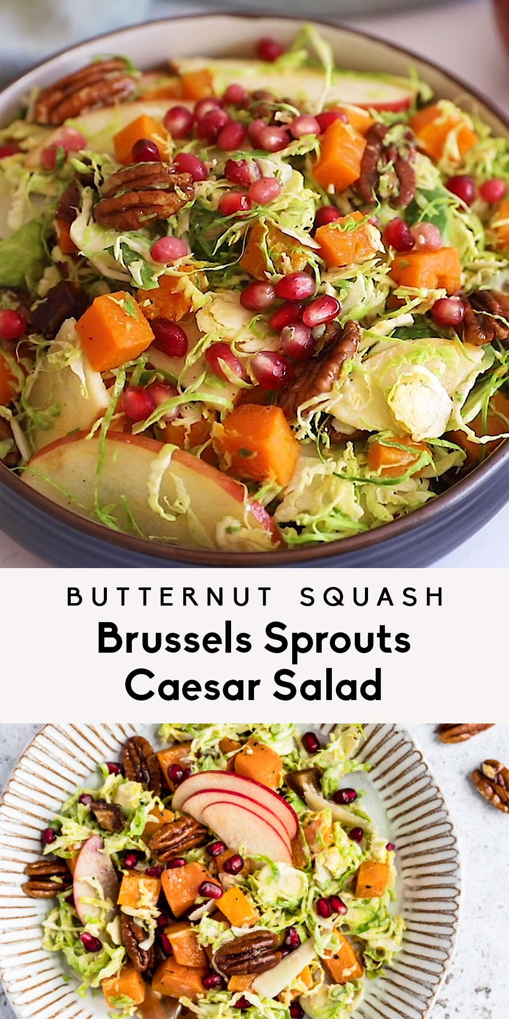 Herbst Butternut Kürbis Rosenkohl Caesar Salat