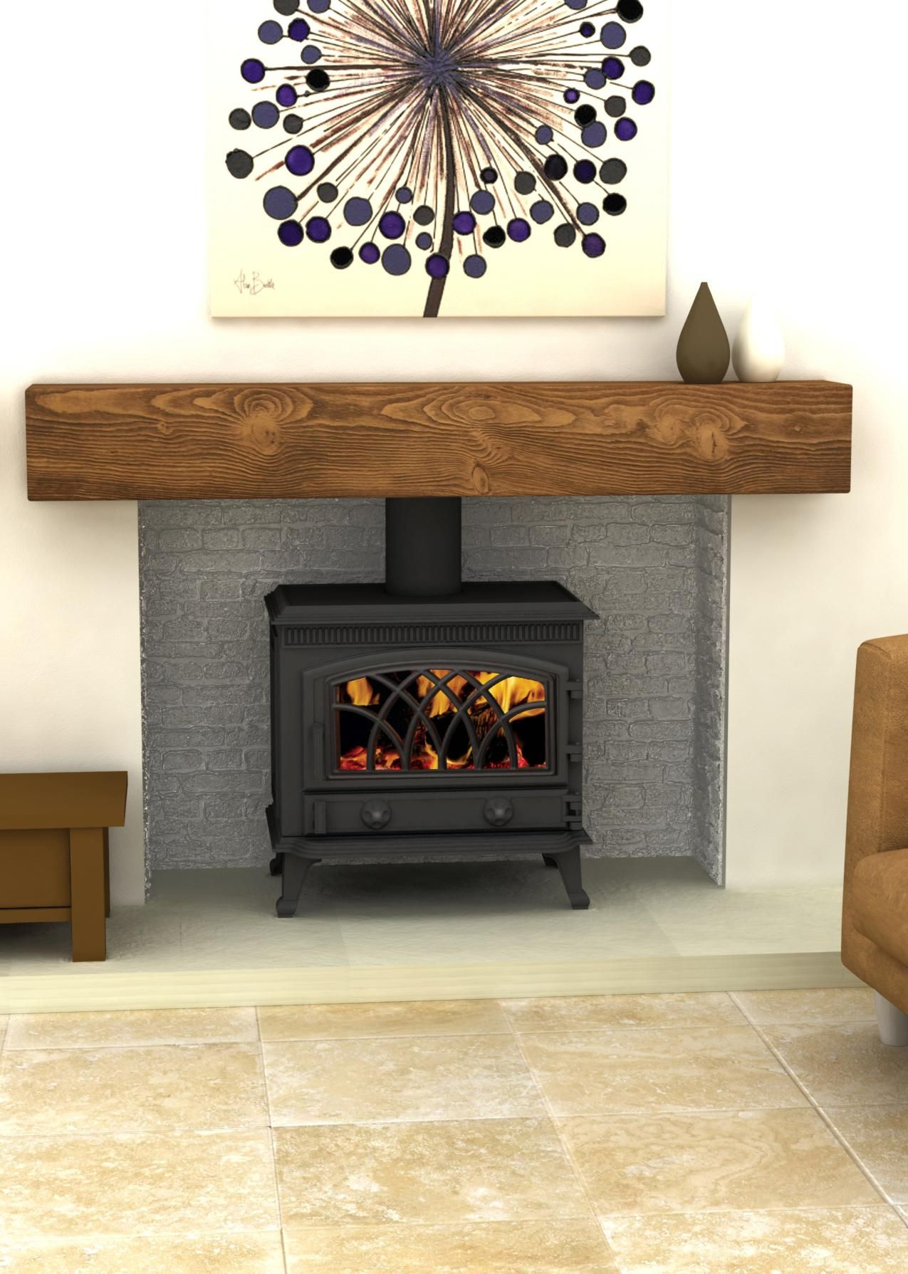 Hillandale monroe 7 cast iron multifuel stove wood for Large modern fireplaces