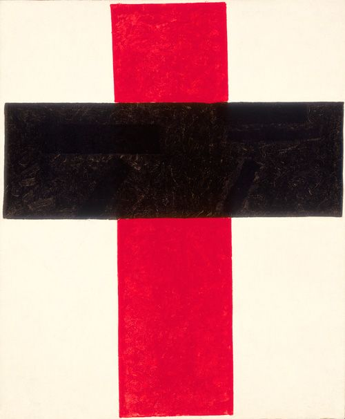 Kazimir Malevich, Hieratic Suprematist Cross (large cross in black over red on white), 1920-1927, oil on canvas, 84 x 69,5 cm, Collection Stedelijk Museum Amsterdam.