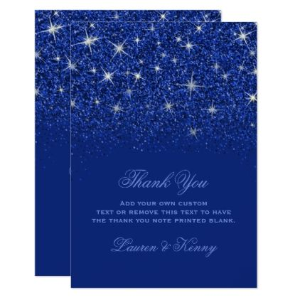 Sapphire Glitz Glitter Thank You Cards