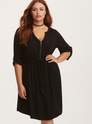Black Challis Zip Front Shirt Dress in Black