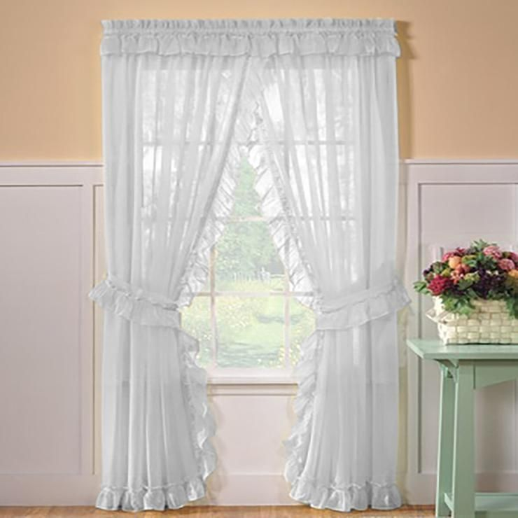 Sheer Priscilla Panel Pair With Attached Valance Valance