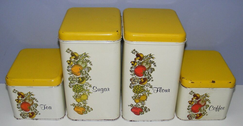 Vintage Metal Stackable Canisters