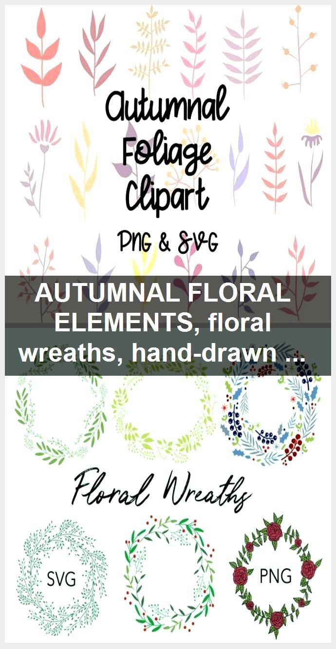 Photo of AUTUMNAL FLORAL ELEMENTS, floral wreaths, hand-drawn wreaths, doodle clipart, floral wreaths, …
