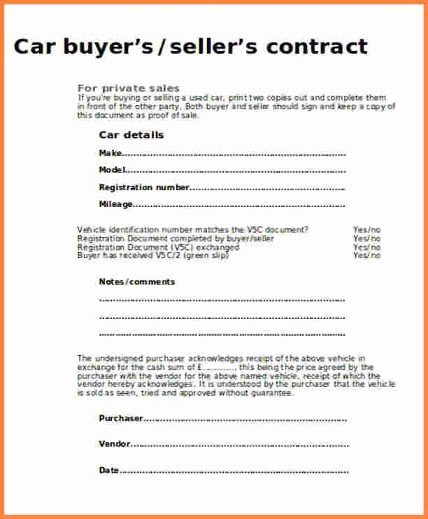 30 Contract For Selling A Car