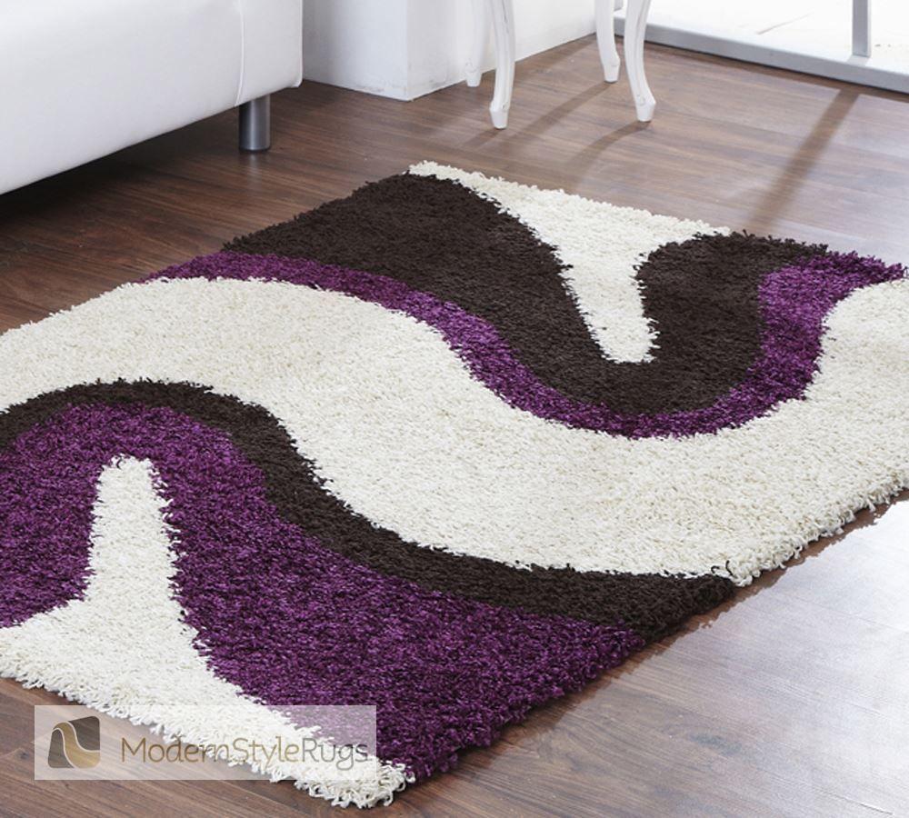Sienna Ripple Cream Purple Rug Modern Style Rugs