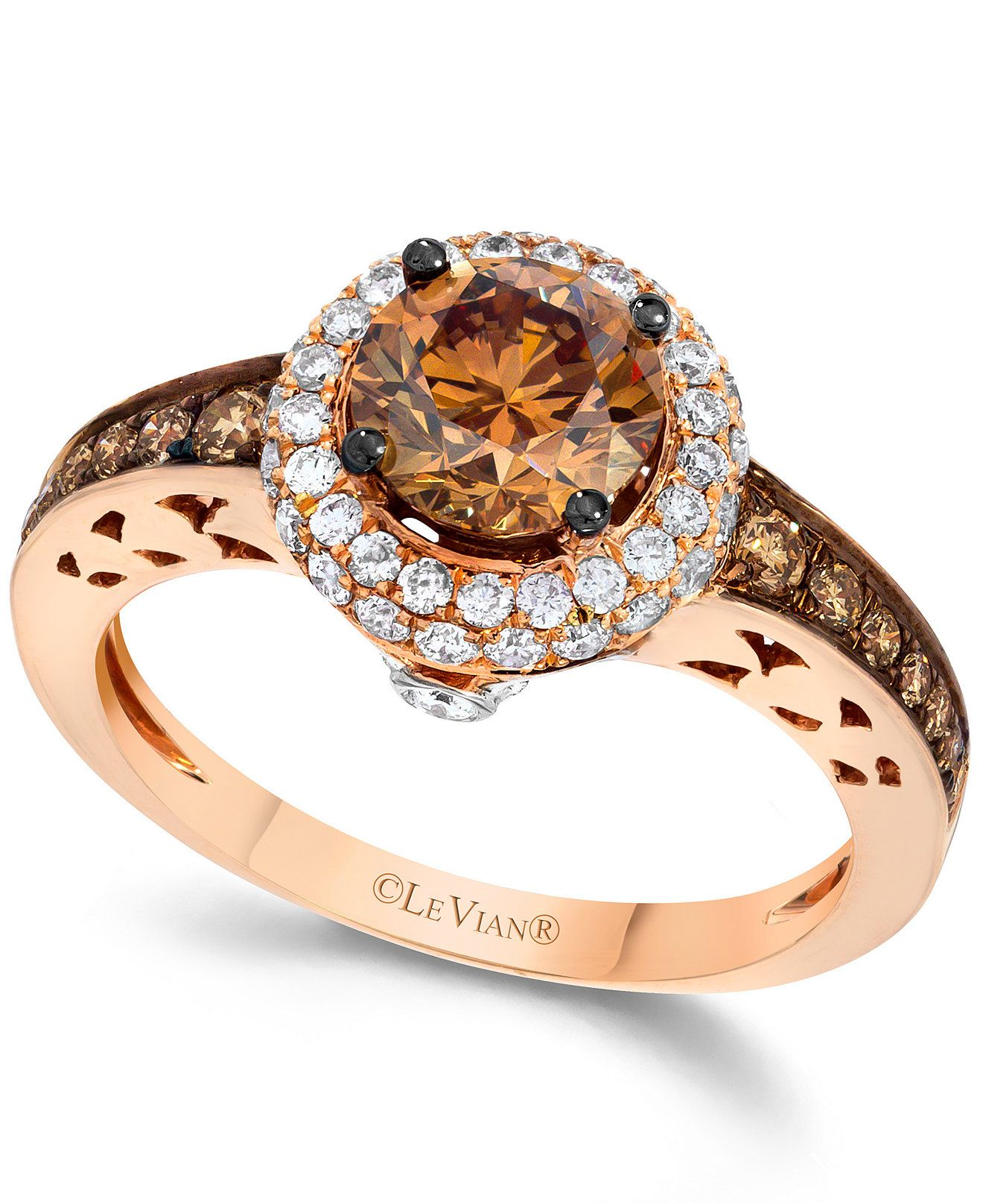 le vian wedding bands Le Vian Chocolate and White Diamond Engagement Ring in 14k Rose Gold 1 5