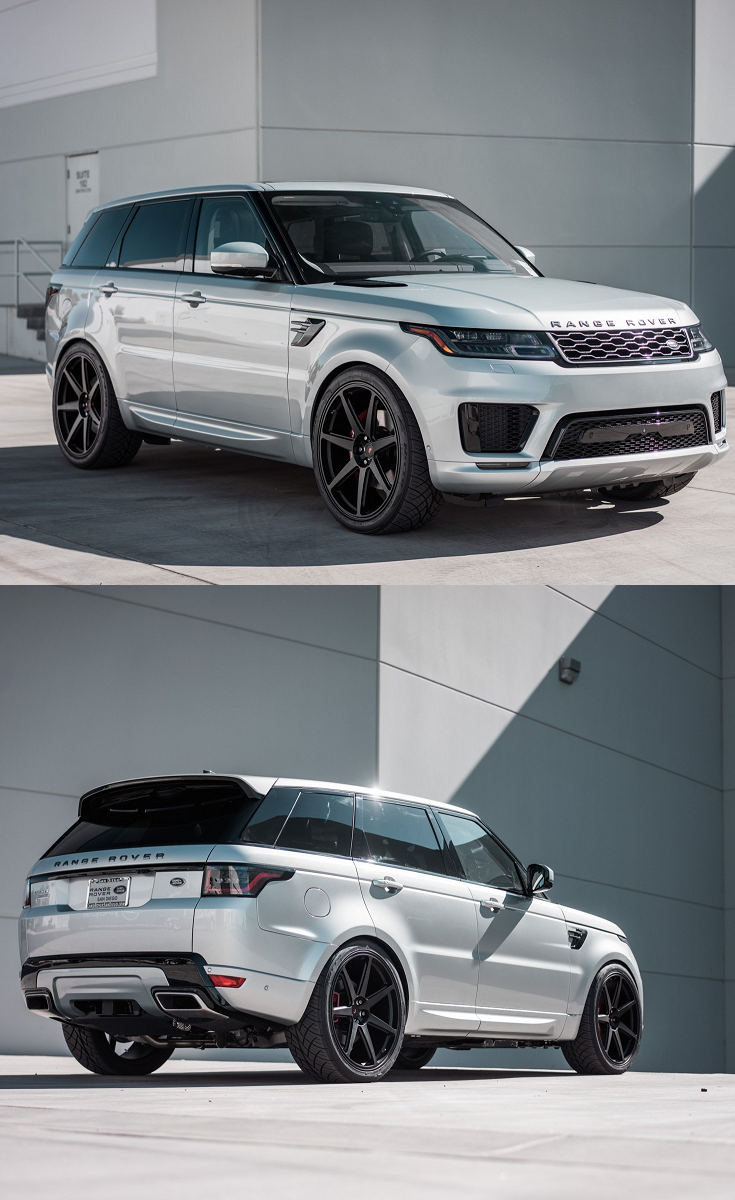 White Range Rover Sport With Custom Front Bumper With Aftermarket Side Skirts With Custom Rear Diffuser With Dark Smoke Headlights On Forged Vossen Wheels
