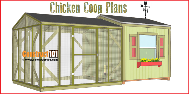 8x8 Chicken Coop Plans with Chicken Run Construct101