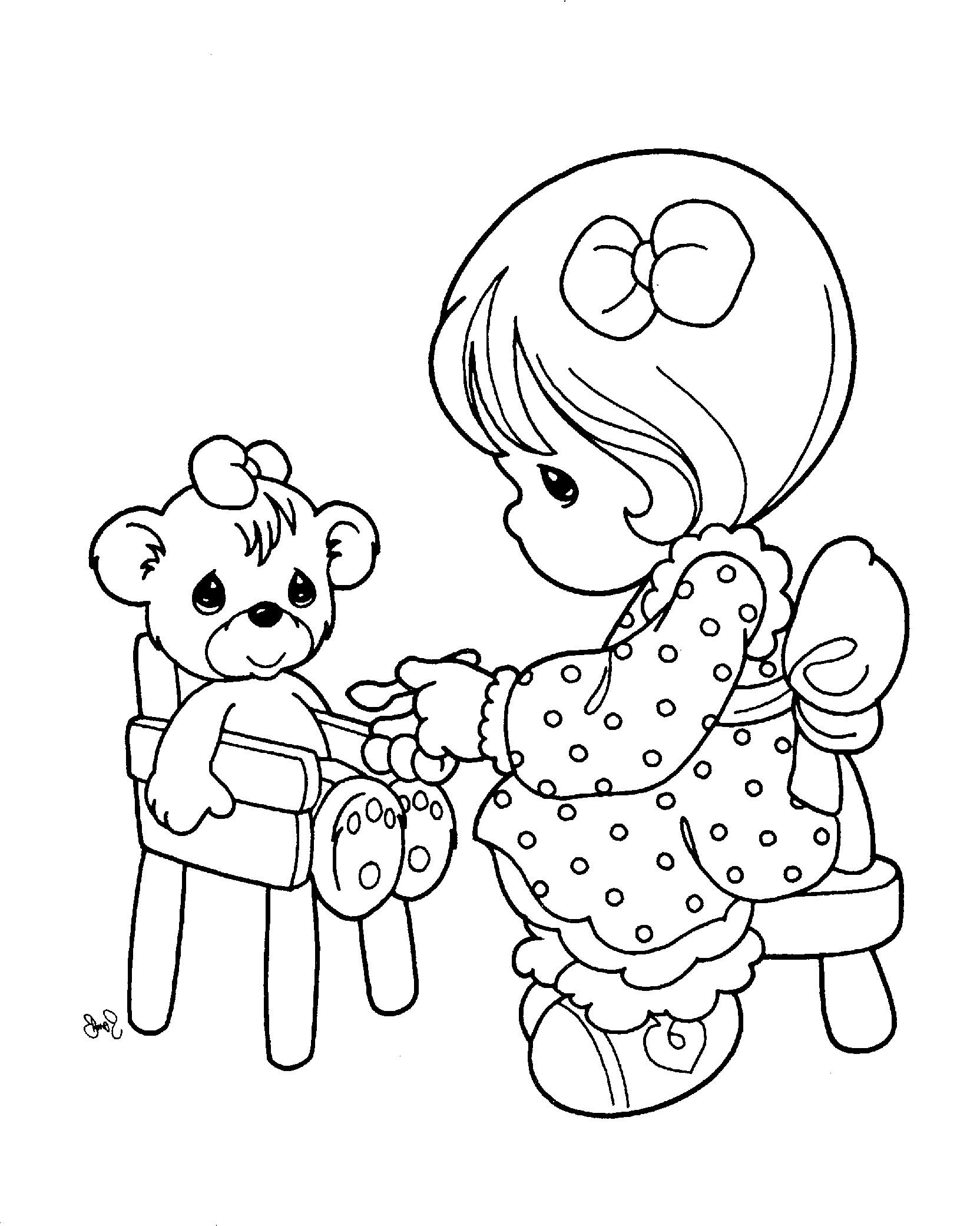 Precious Moments Was Playing Her Doll Coloring Pages
