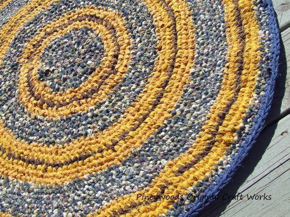 Handmade Crochet 36 Inch Round Rag Rug Navy By