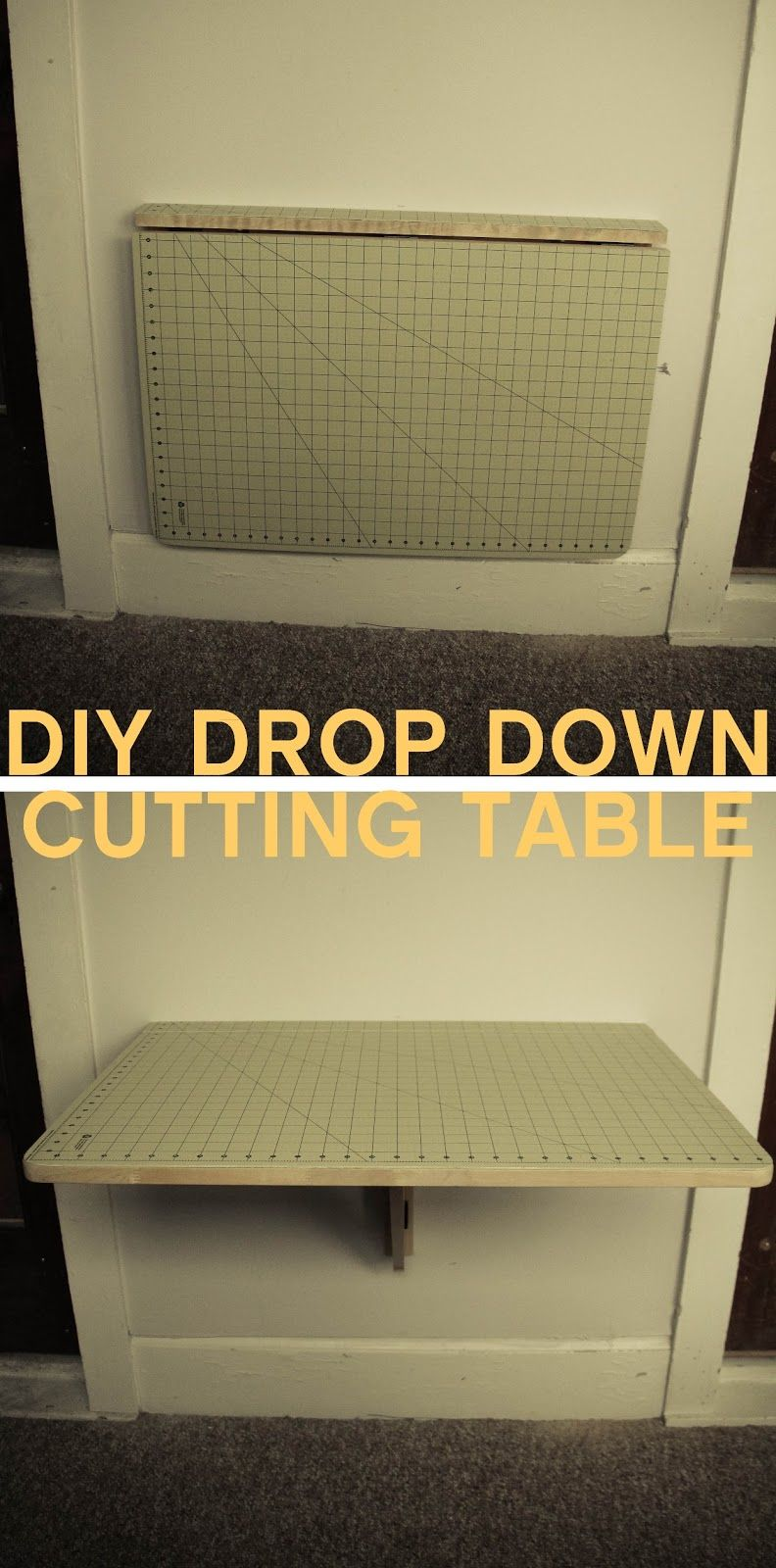 Diy ikea sewing table  Grosgrain DIY Drop Down Cutting Table  Creative space  Pinterest