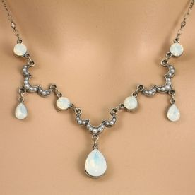 Anne Koplik Designs Antique Inspired Faux Pearl & White Opal Crystal Scalloped Drop Necklace 16-18""