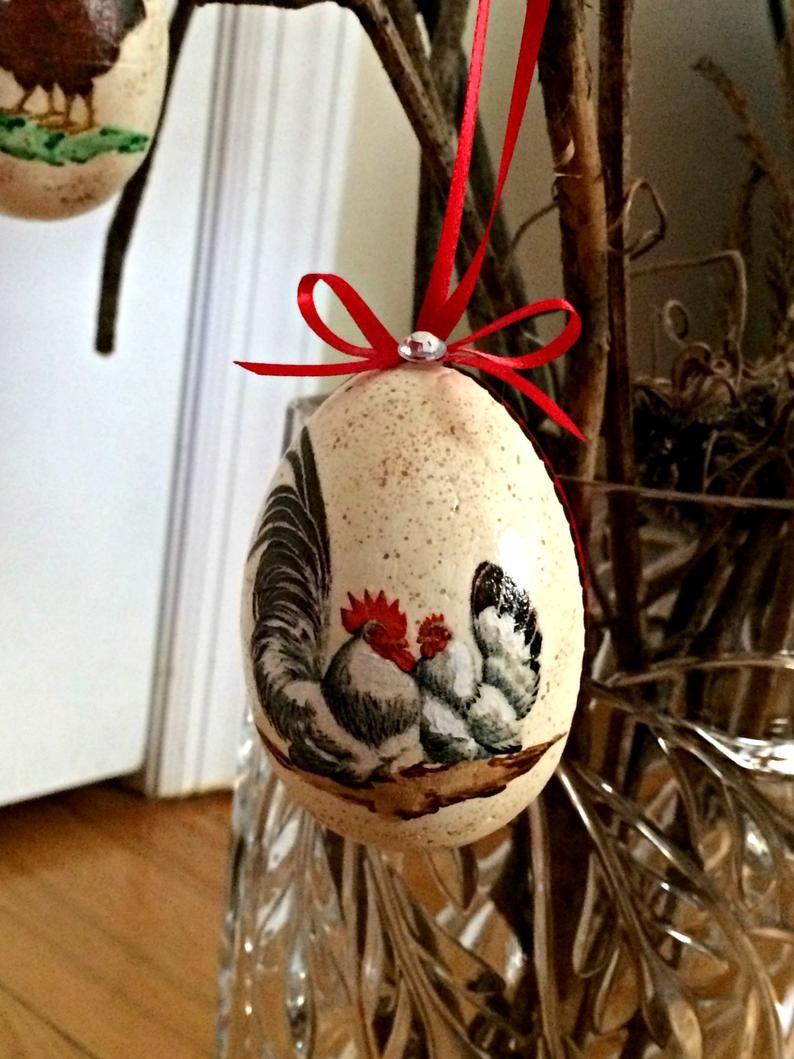 Chicken easter eggs decoupage farmhouse decor country
