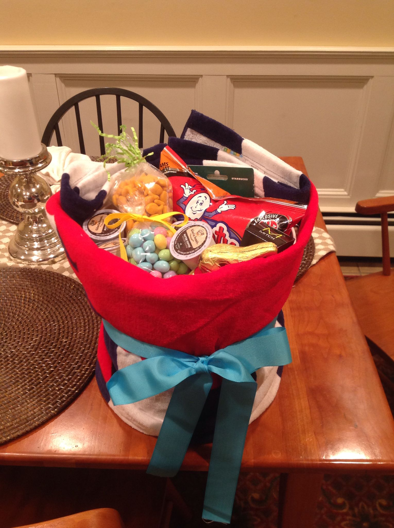 Easter basket alternative for college studentte wastebasket easter basket alternative for college studentte wastebasket wrapped in a beach towel negle Choice Image