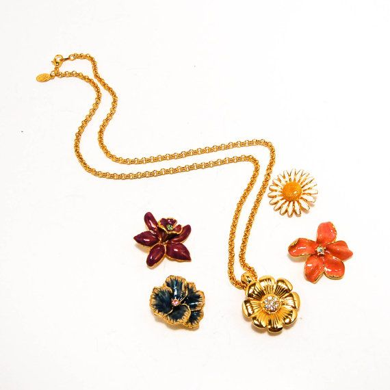 Vintage Joan Rivers Interchangeable Flower Pendant Necklace Daisy Impatient Zinnia Pansy Orchid