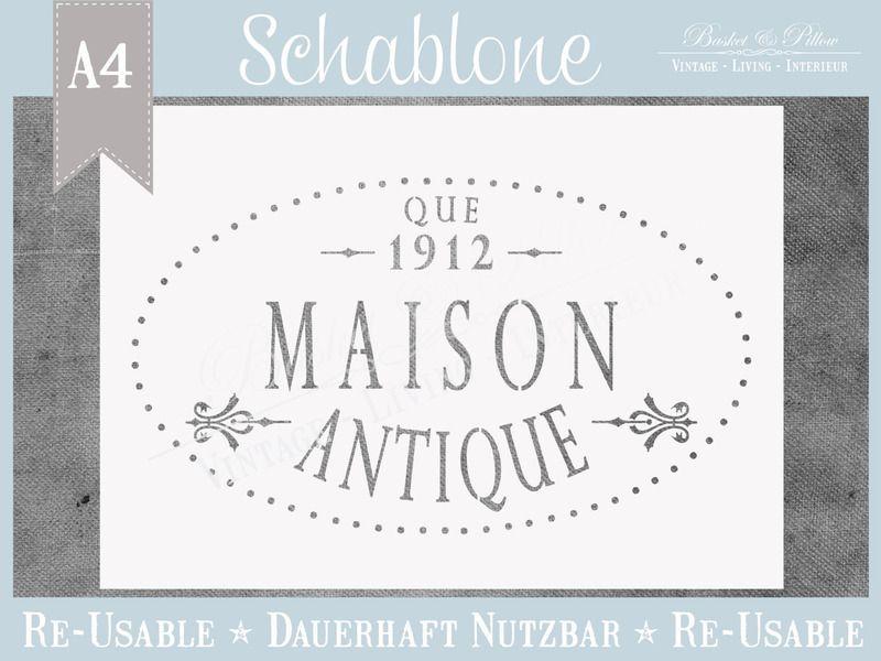 """Schablone """"MAISON ANTIQUE"""" * French Nordic Style von Basket & Pillow auf DaWanda.com"""