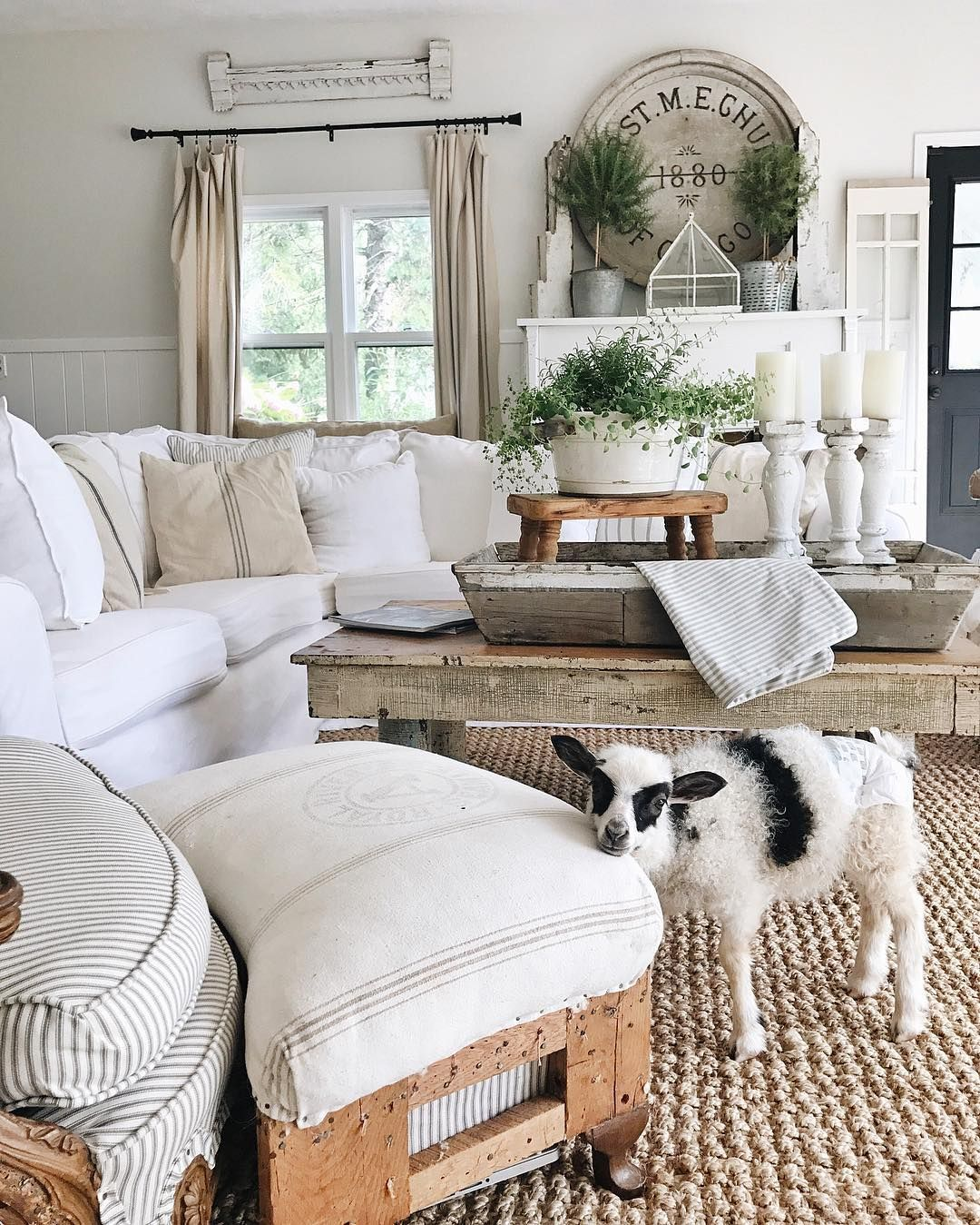 Country Family Room: Neutral Colors, Jute Rug, Vintage Cricket Stool, Ticking