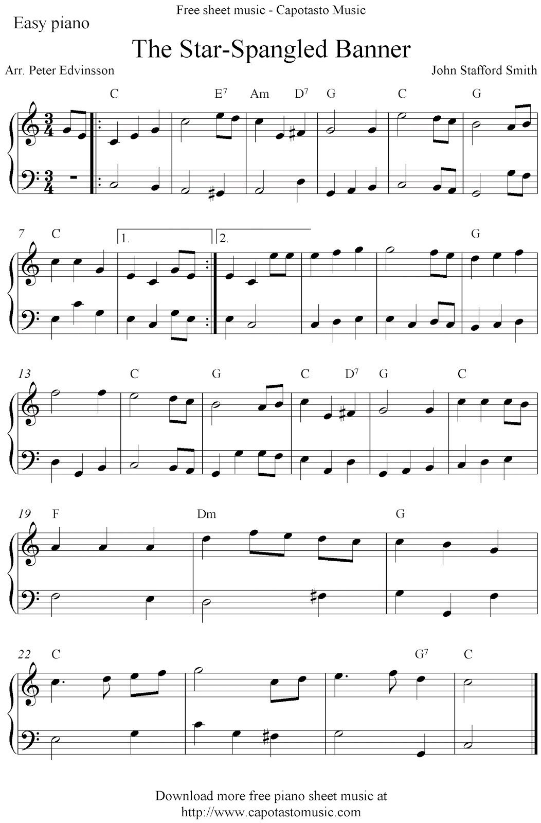 Easy Free Piano Sheet Music Solo Arrangement By Peter Edvinsson Of The Melody The Star Spangled Piano Sheet Music Free Piano Sheet Music Easy Piano Sheet Music