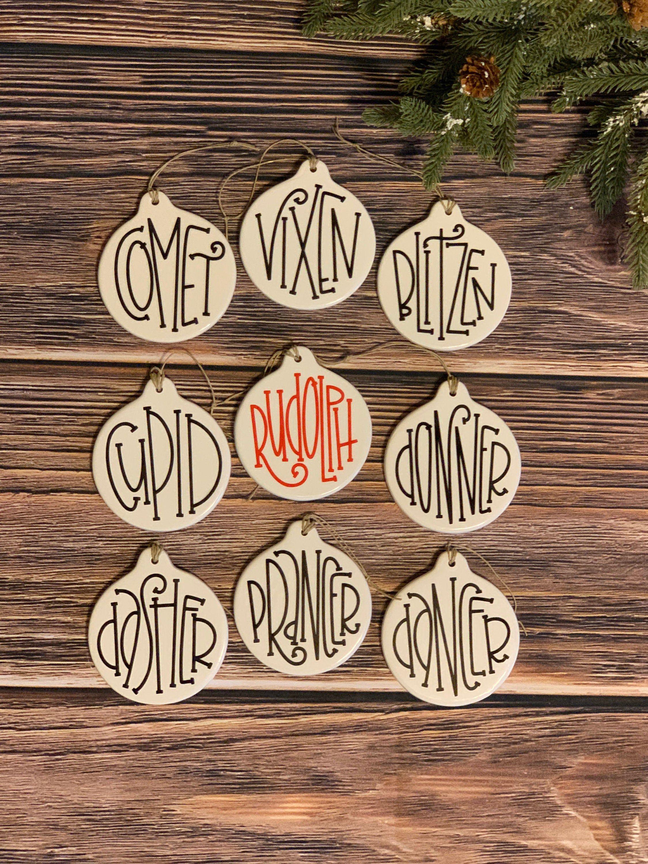 Reindeer ornament set, Reindeer names ornaments, Farmhouse