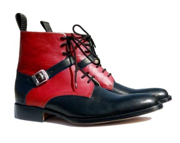 8653c43d823 New Jodhpurs Black Red Men Boots Stacked Heel Landon Ankle Boot Fashion