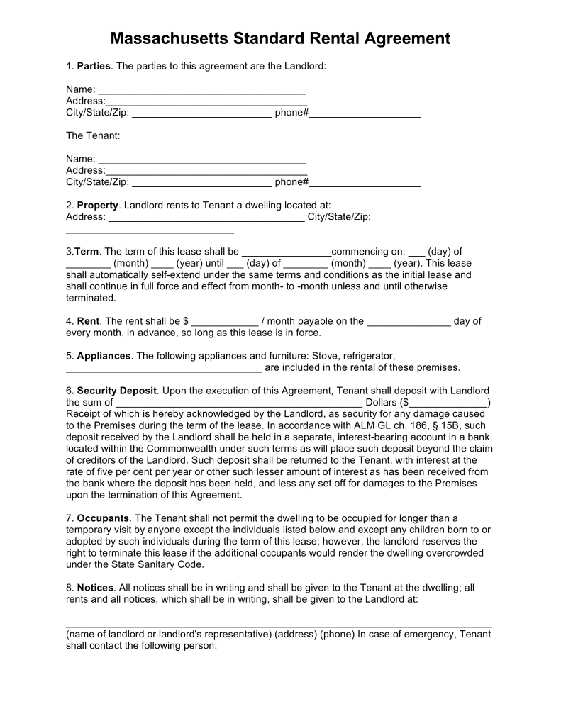 Apartment Lease Agreement Template Best Idea Free Massachusetts