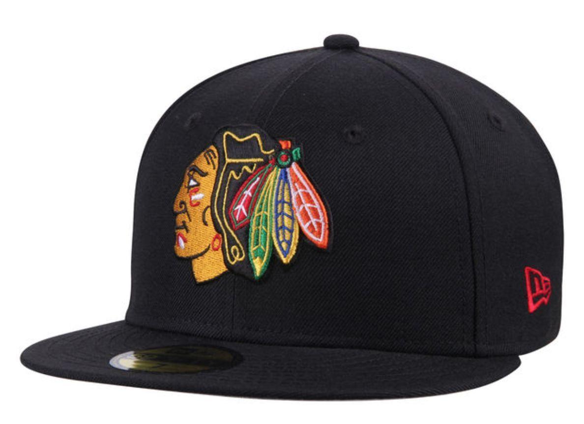 3436b7e02 NEW Era 59Fifty Chicago Blackhawks Fitted Hat (Black) Men's NHL Hockey Cap  ...