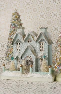 """Set of 3 Cody Foster Christmas Village Ivory Glitter Trees 4/""""-10/"""" Tall"""
