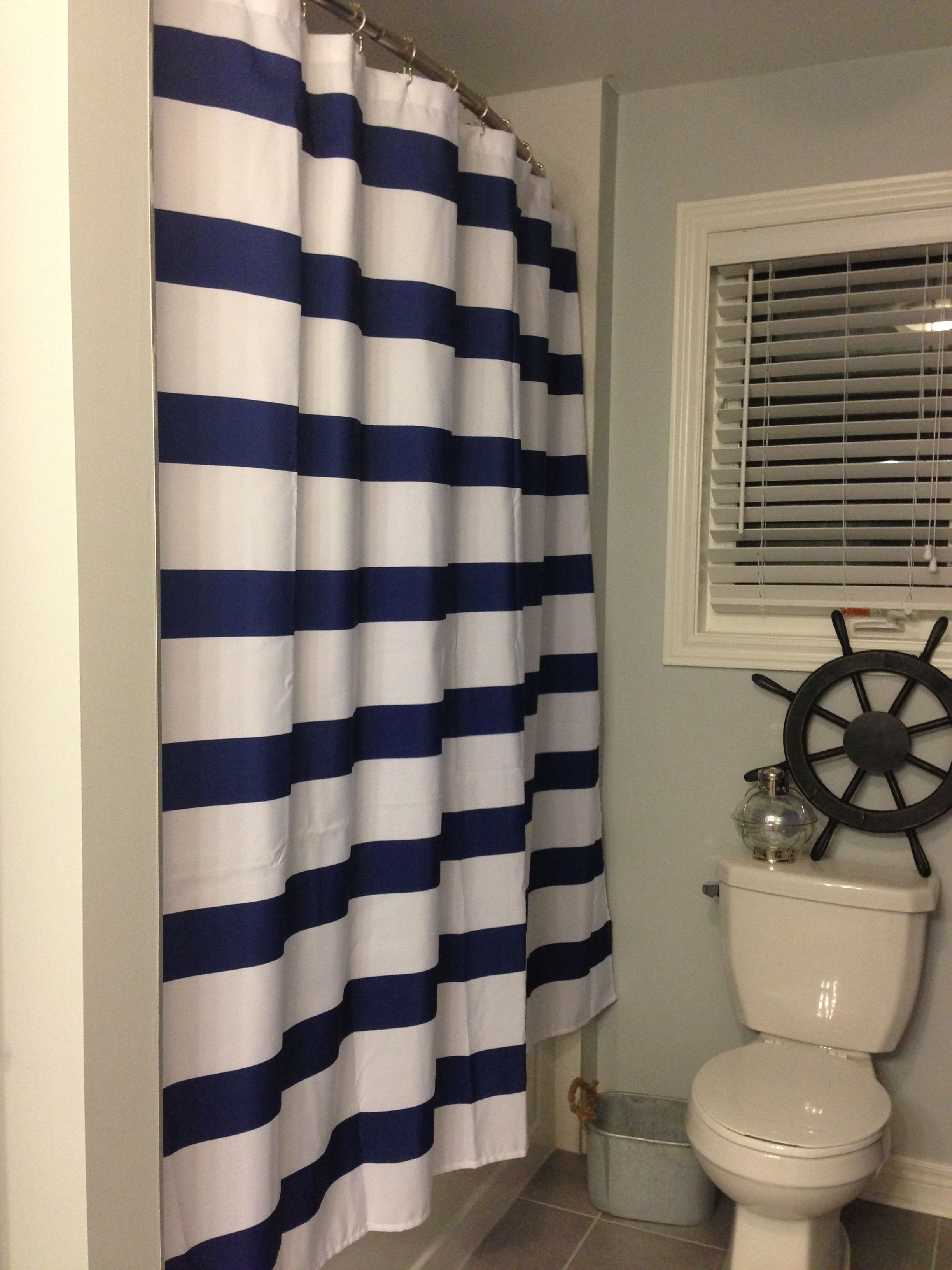 Shower Curtain Navy White Ships Wheel Home Pirate