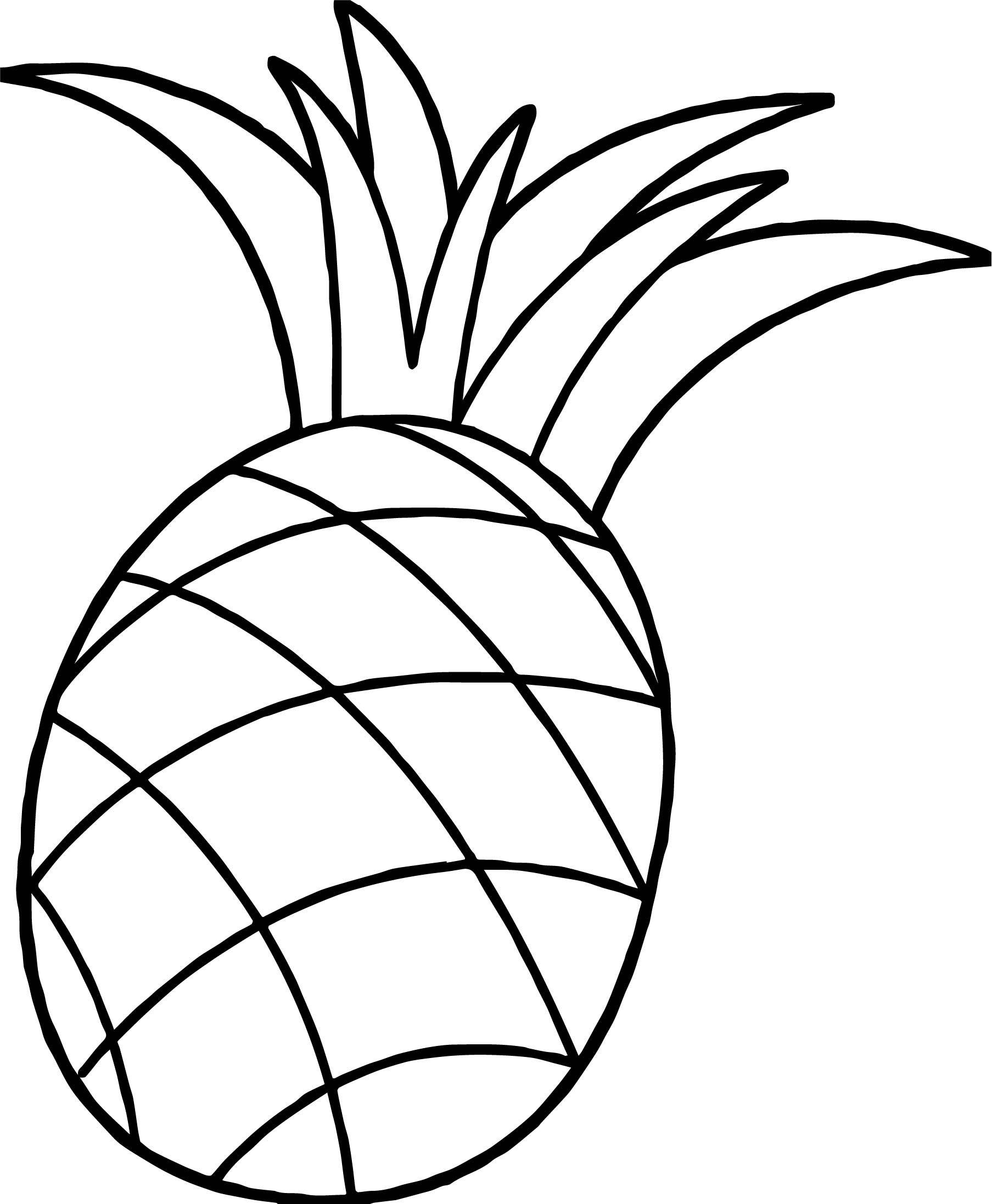 Awesome One Pineapple Coloring Page Cute Pineapple Coloring