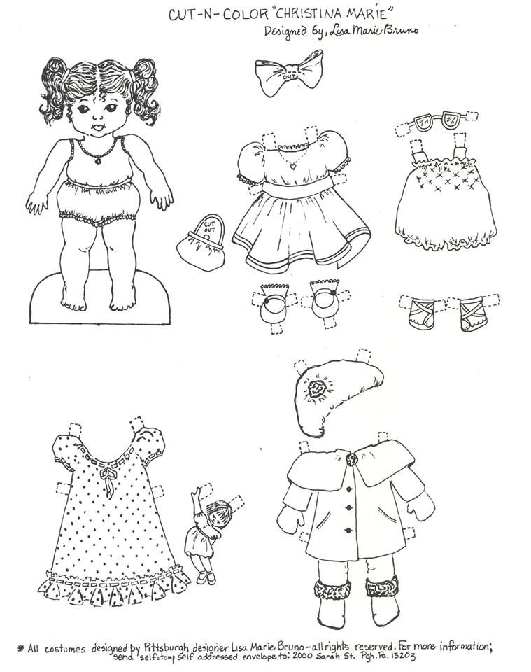 Christina The Little Paper Doll Coloring Page I Created In Honor