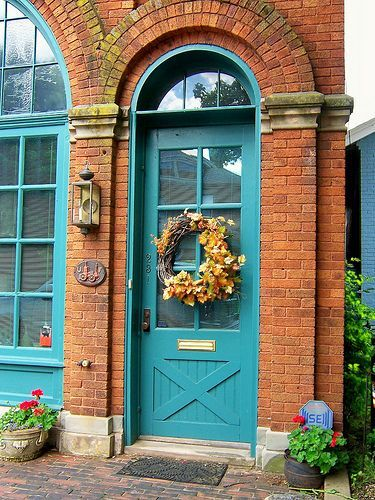 image result for front door color for orange brick house - Exterior House Colors With Orange Brick