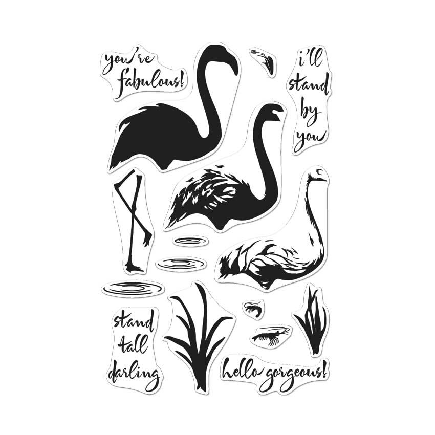 Cl962 color layering flamingo hero arts clear stamps