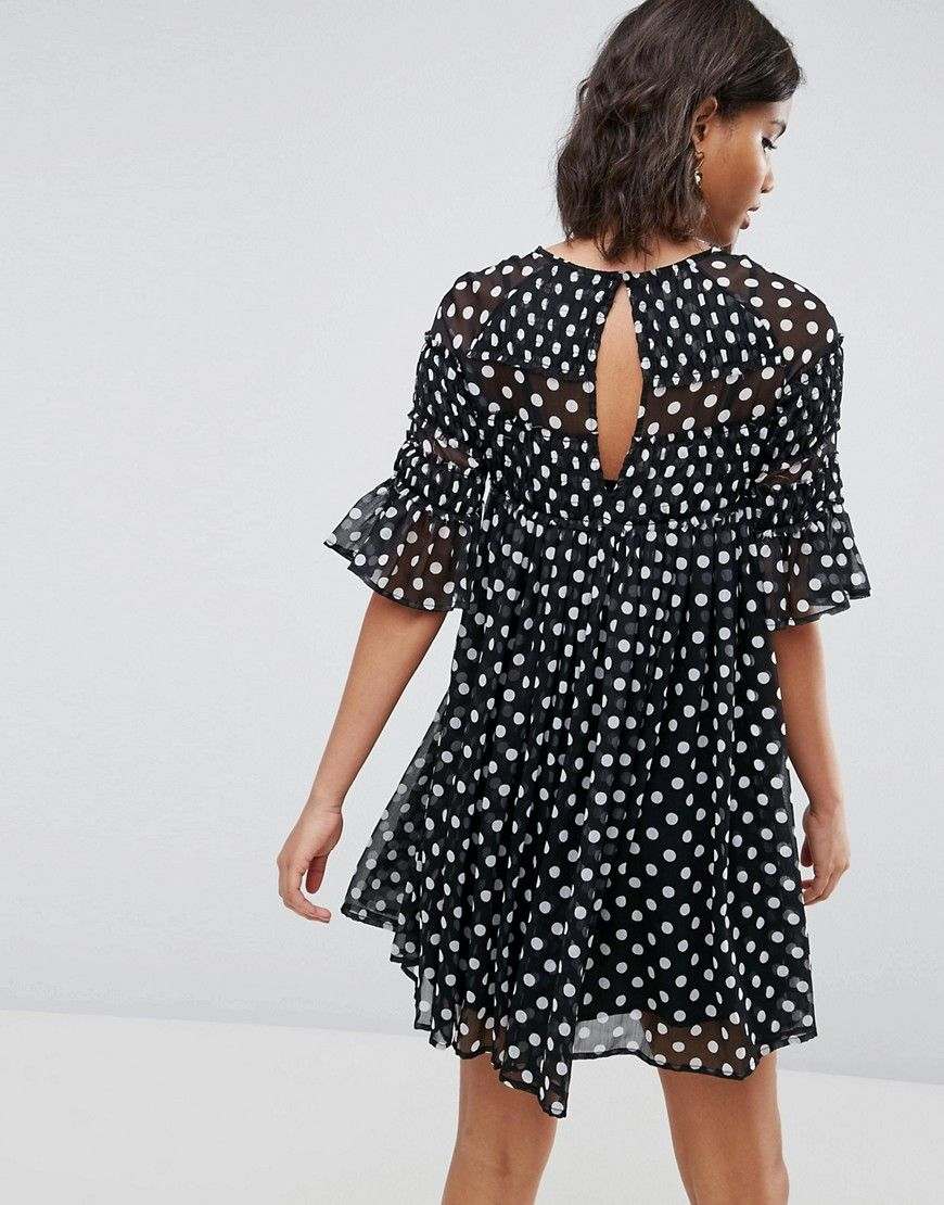 203835aa15d8 Spot Smock Mini Dress With Shirring Detail in 2019 | wear || outfits ...