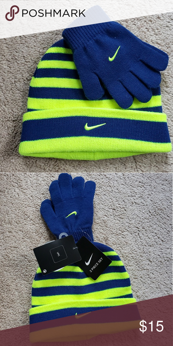 319ce89fbeb Kids Hat   Gloves Set Brand new with tags! Royal blue and neon yellow. Nike Accessories  Hats