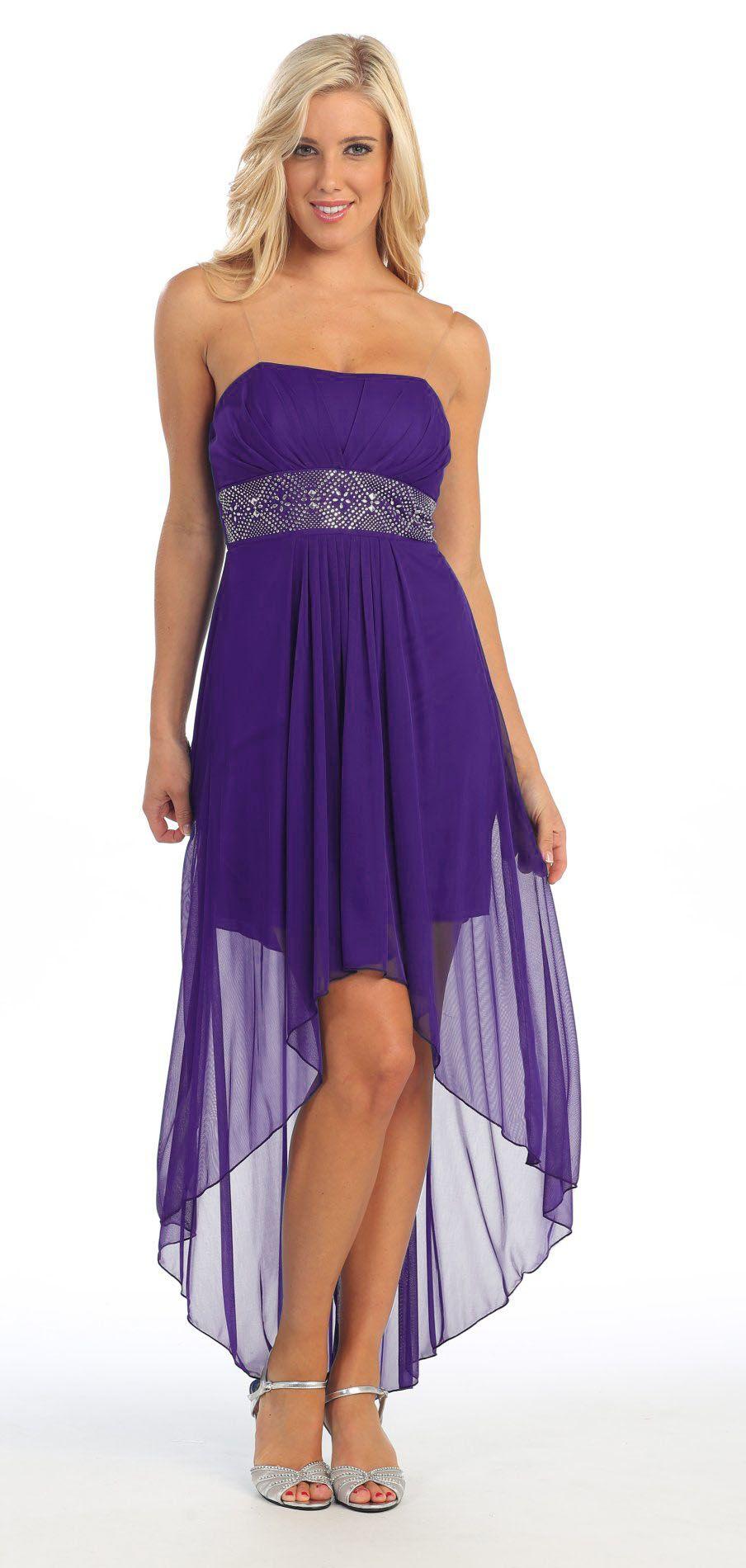 Strapless High Low Lavender Bridesmaid Dress Flowy Chiffon Empire