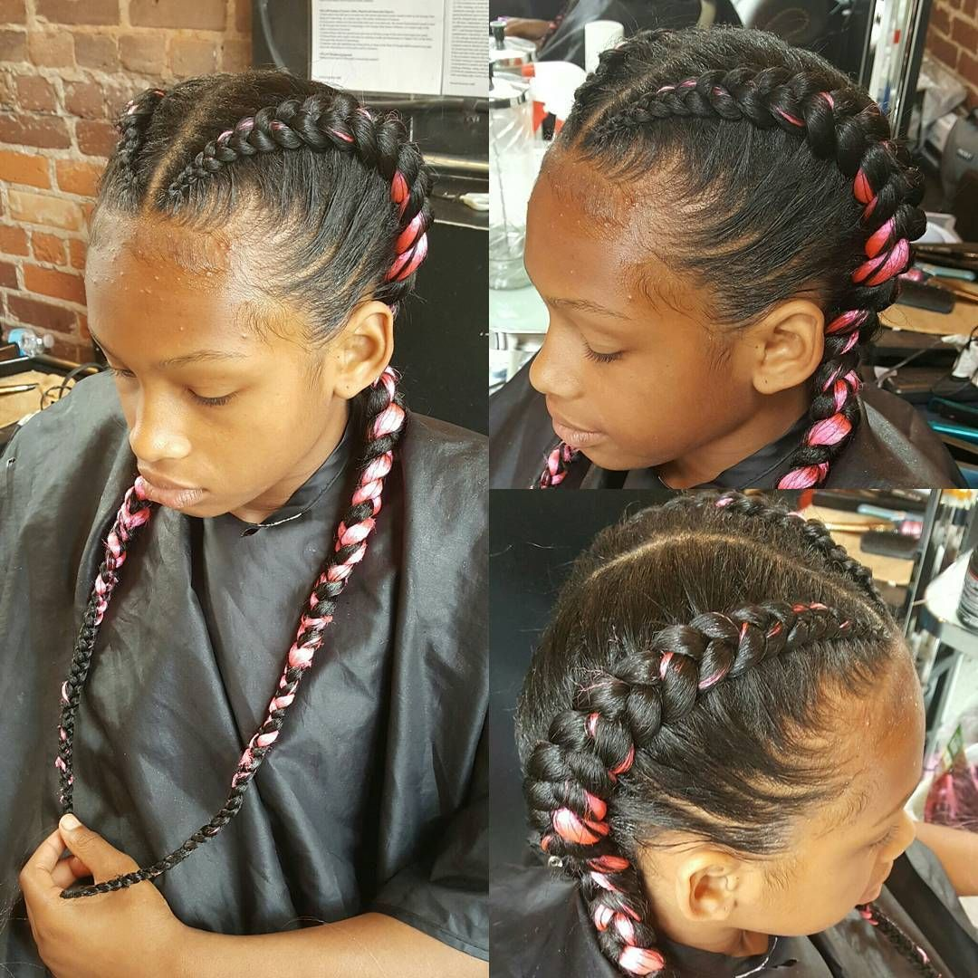 Glamorous black and pink fishtails black girls hairstyles in
