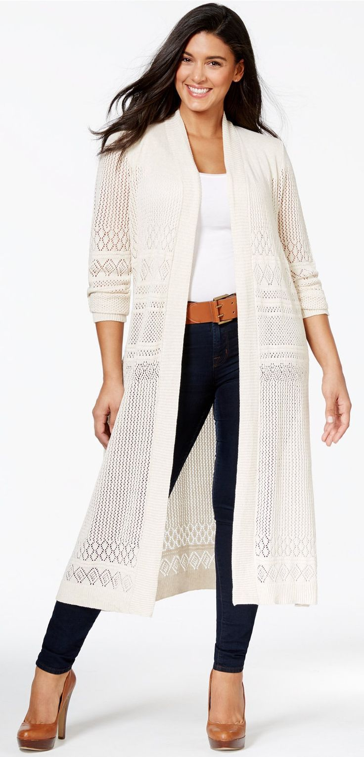 Plus Size Pointelle-Stitch Duster Cardigan | Plus Size Fashion ...