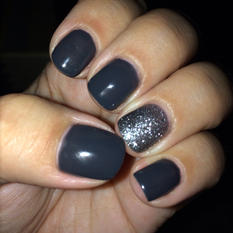 Dark Grey Nails with SPARKLES!!!!   Beauty   Pinterest   Dark grey ...