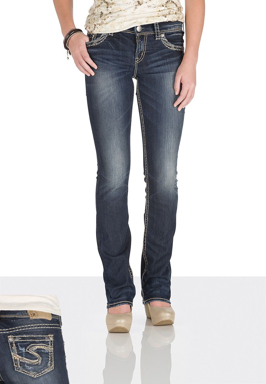silver jeans co. ® Suki thick scribble stitch Jeans