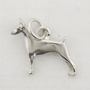 Sterling Silver Tiny Standing Doberman Pinscher Dog Charm Dobes
