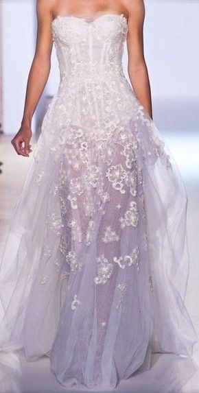 Soft Lilac Tulle Gown Ombre White To Lavendar
