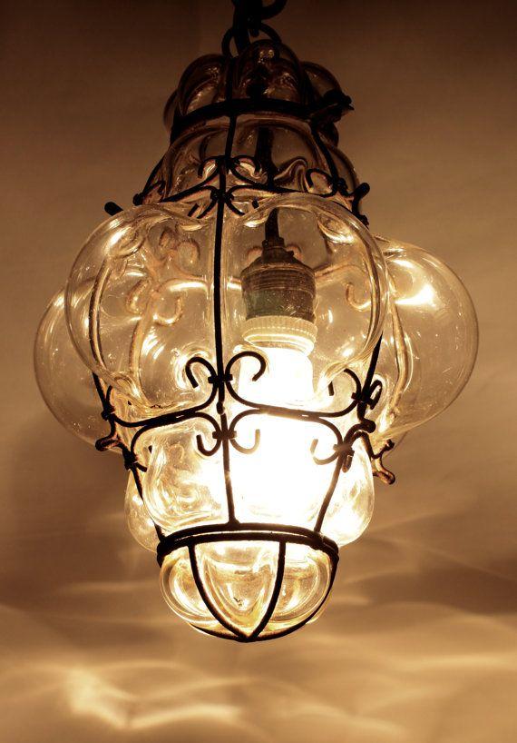 Vintage Blown Glass Lantern Or Bohemian Pendant Light
