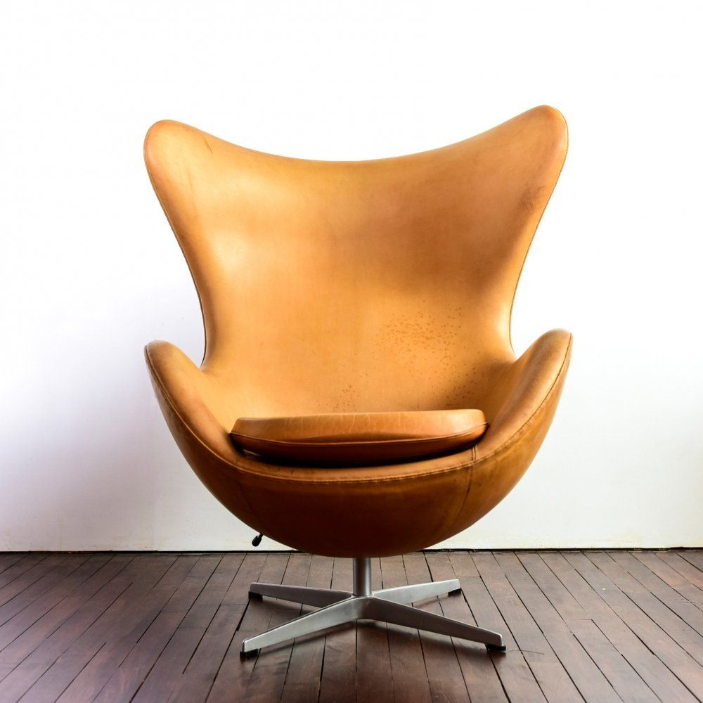 Awesome Egg Chair By Arne Jacobsen In Brown Natural Leather 1990S Ibusinesslaw Wood Chair Design Ideas Ibusinesslaworg