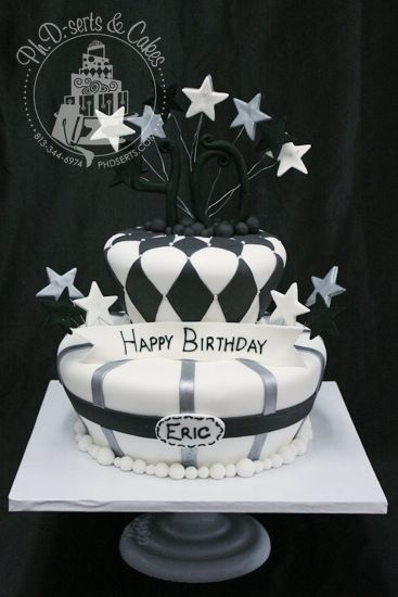 Fondant Covered Cake Decorated With Black And Silver Accents For A 40th Birthday Party